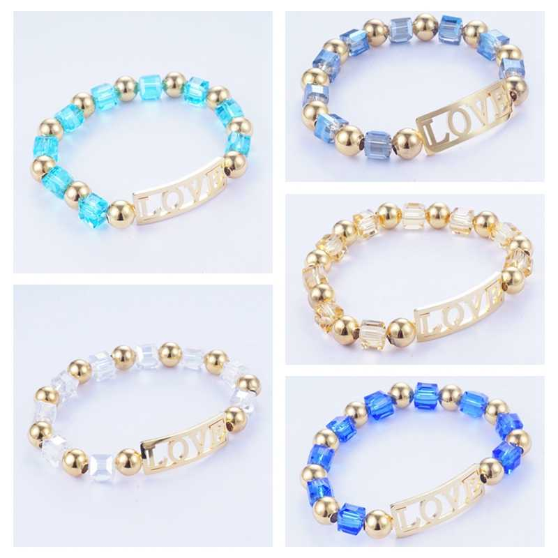 Yunkingdom Romatic Love Jewelry Beads Metal Gold Color Bangles Stainless Steel Bracelets for Women Female Anniversary Gift