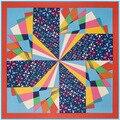100*100 см Горячая Twill Шелковые шарфы женские 2016 Geo калейдоскоп шаблон цифровой печати шелковый шарф женский большой шелковый шаль