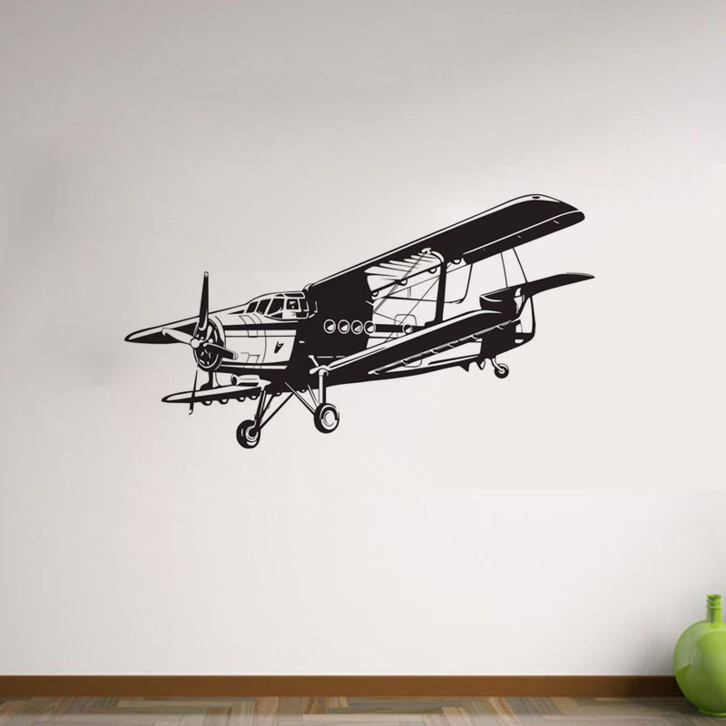 Military Aviation Airplane Wall Stickers For Kid Rooms Removable Vinyl Wall Decals Cartoon Aircraft Wall Decor image
