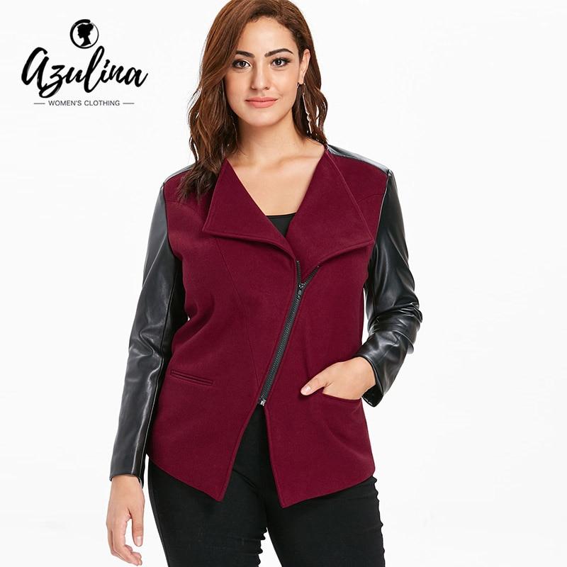 d0d781d1dbd AZULINA Plus Size Faux Leather Color Block Panel Jacket Women Winter Autumn  Slim Lapel Long Sleeve