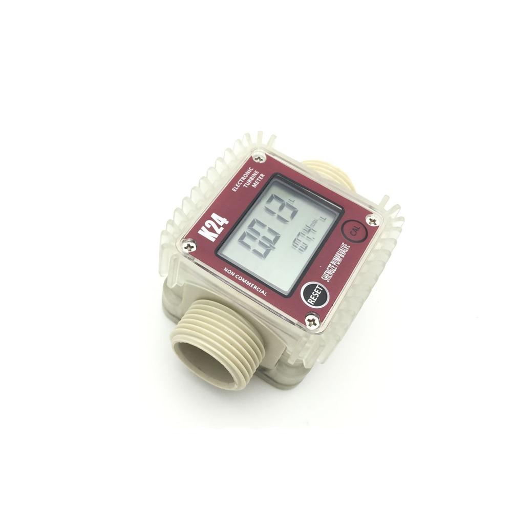 K24 LCD Turbine Digital Diesel Fuel Flow Meter for Chemicals Water Sea Adjust k24 turbine flow meter for water