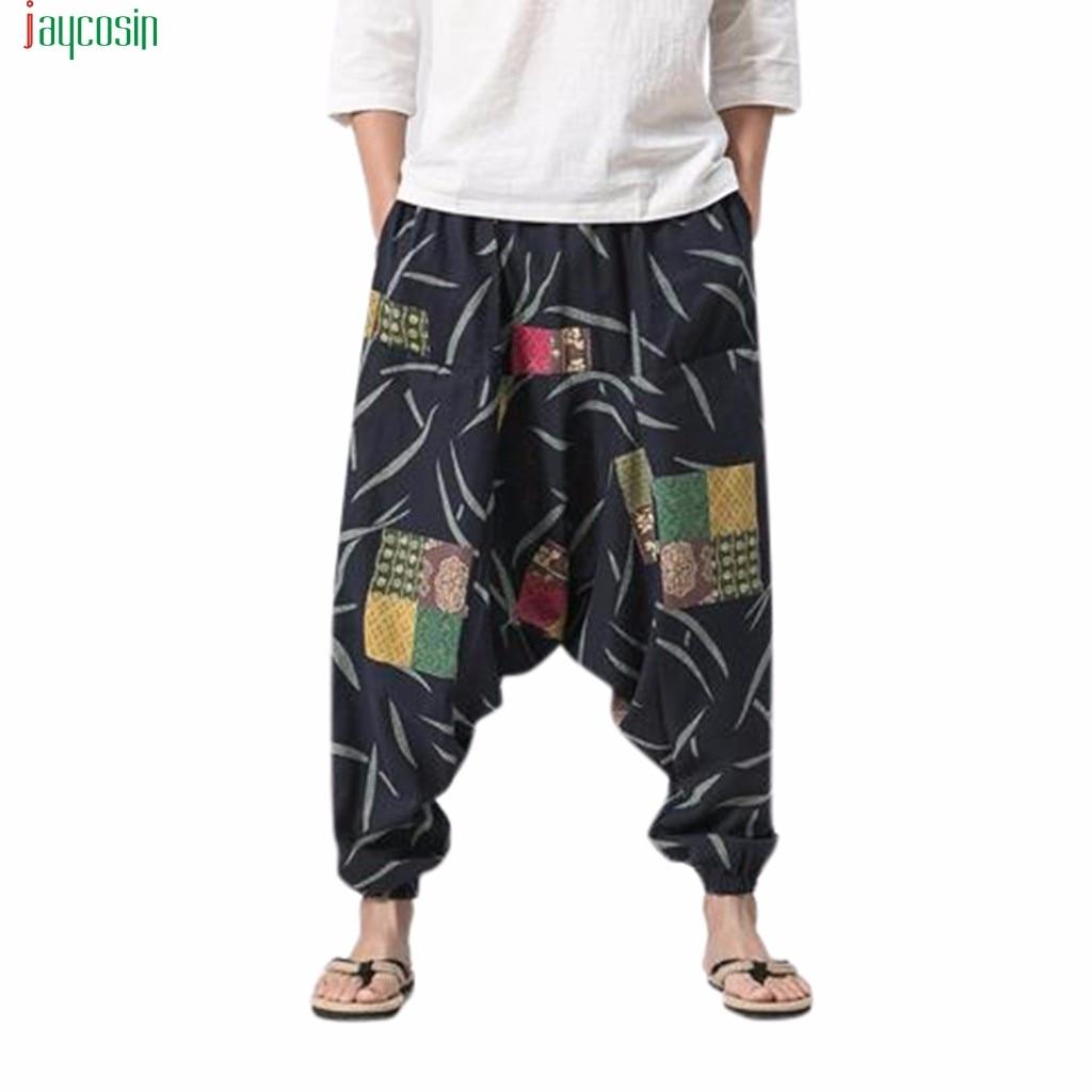Jaycosin Men's Cotton Linen Harem Pants Fashion Vintage Loose Trousers Festival Baggy Gypsy Pants Pantalones Holgados De Moda(China)