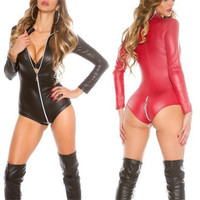 Black Leather Baby Doll Sexy Lingerie Hot Long Sleeve Pole Dance Latex Teddy Lingerie Sexy Costumes