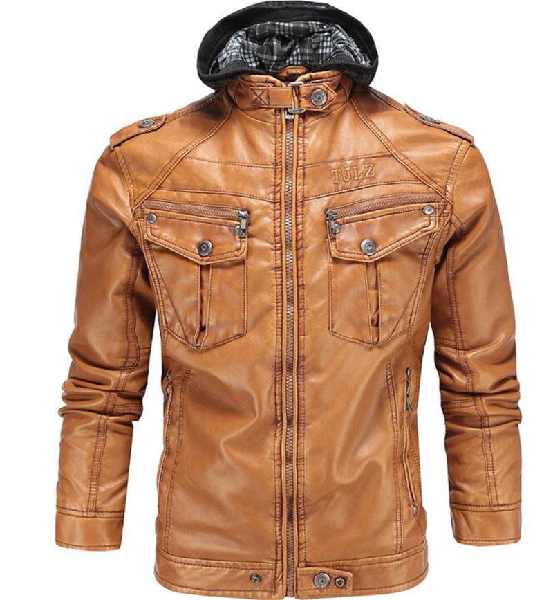 New Vintage Retro Motorcycle Jackets Men PU Leather Jacket Racing Removable Hooded Biker Punk Casual Windproof Moto Jacket free shipping new vintage brand clothing mens cow leather jackets men genuine leather biker jacket motorcycle homme fitness