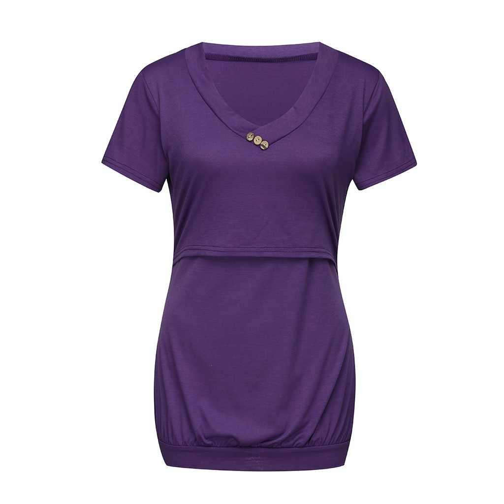 Топ для кормящих женщин Летняя Повседневная футболка с пуговицами футболка для кормления грудью одежда для беременных Ropa Embarazada 19Apr10