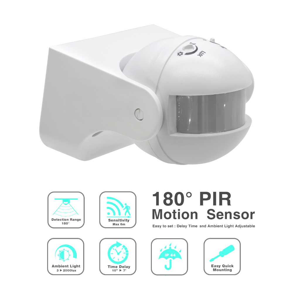 High quality 110V 220V 180 Degree Outdoor IP44 Security PIR Infrared Motion Sensor Switch Movement Detector Max 8m ET039