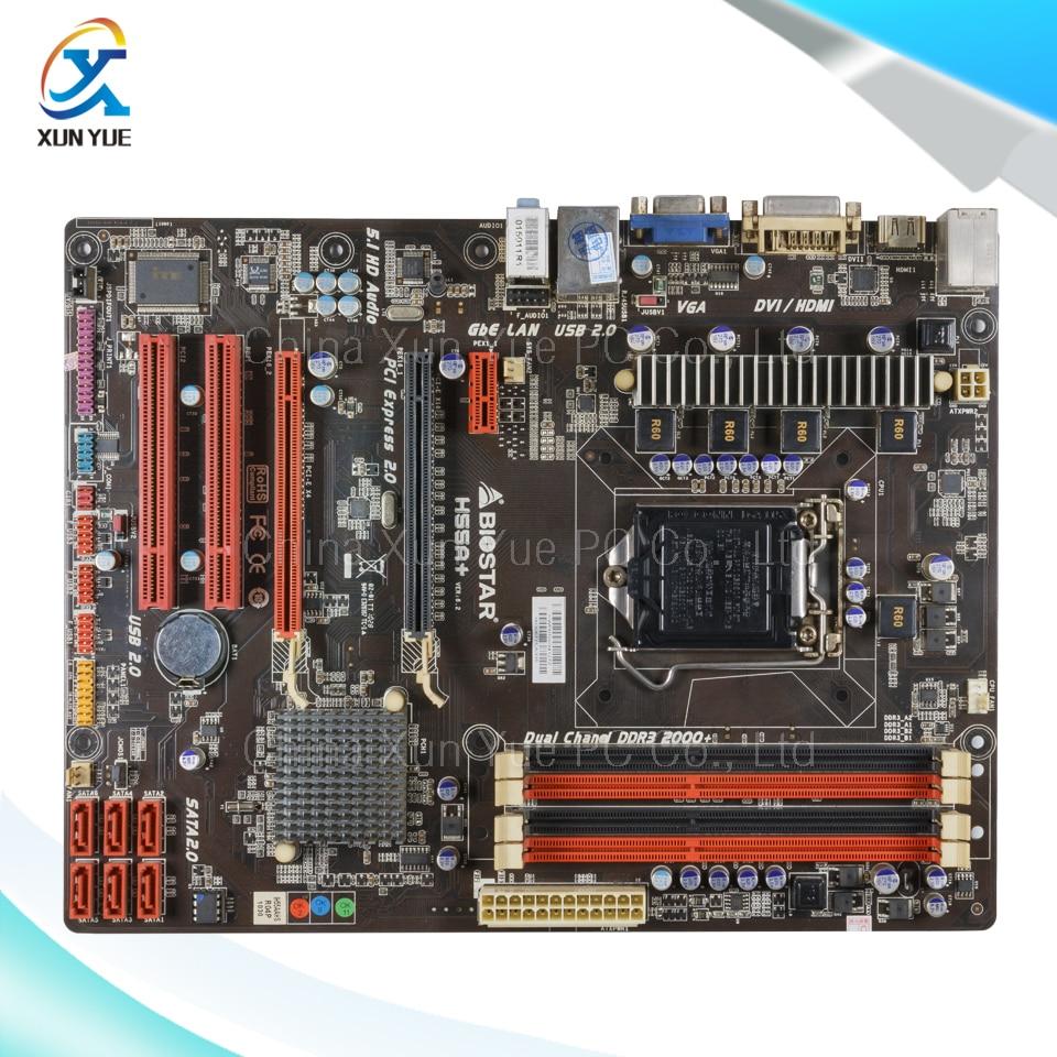 ФОТО For BIOSTAR H55A+ Original Used Desktop Motherboard H55A For Intel H55 For LGA 1156 DDR3 16G SATA2 USB2.0 ATX