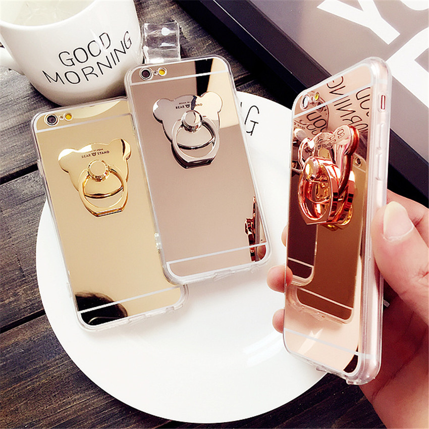 Cartoon Bear Mirror Case Ultra Thin Clear TPU Ring Holder Stand Phone