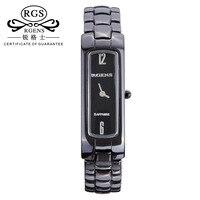 Gốc womens ceramic đồng hồ quartz luxury Vuông Nữ đồng hồ thường 30 m phụ nữ không thấm nước đồng hồ đeo tay đen white gold