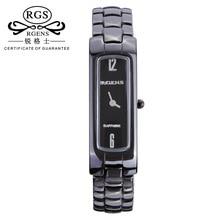 D'origine femmes en céramique montres à quartz de luxe Carré Femelle horloges casual 30 m étanche dames montres noir blanc or