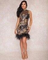 Aletterhin Phụ Nữ Feathers Sequin Xem Qua Váy Không Tay Cao Cổ Nữ Bodycon Bandage Sexy Club Mini Party Dresses