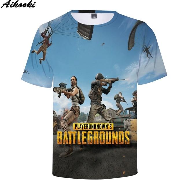27694aa476 Aikooki Hot Game 3D Print PUBG T-shirt Men/Women Fashion Hip Hop Short  Sleeve Tee shirt pubg 3d T shirt Men Summer Casual Tops