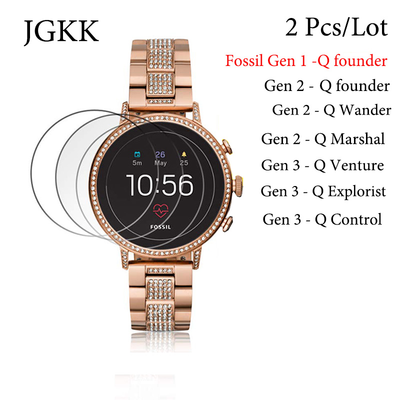 2Pcs/Lot Glass Film For Smart Watch Fossil Q Wander/Control/Venture/Marshal/Explorist/Founder Gen 2/3 Protector Tempered Glass