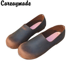 Careaymade-2019 Hot selling Thick cow Leather  Pure Handmade lazy shoes ,Sen female The retro art , two way to wear