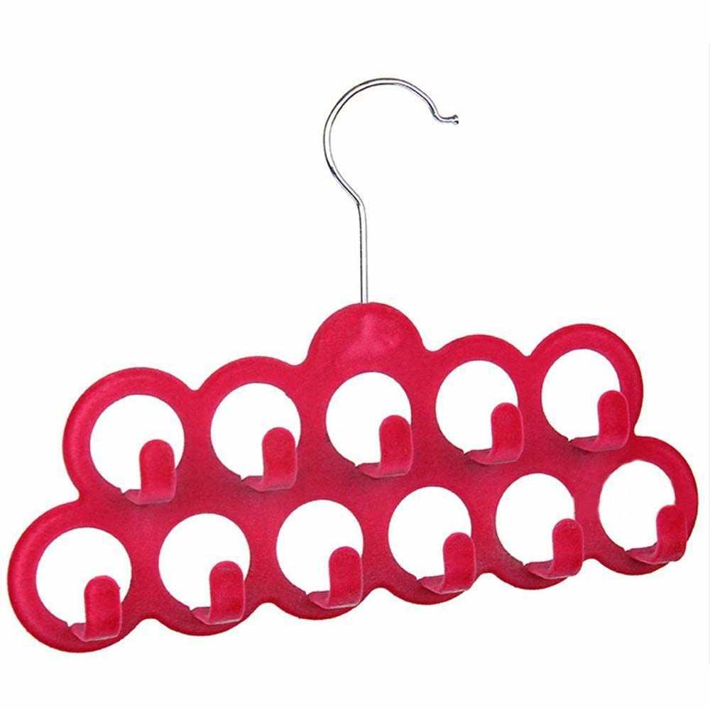 Многофункциональная вешалка для шарфа с 11 крючками в флоке, случайный цвет