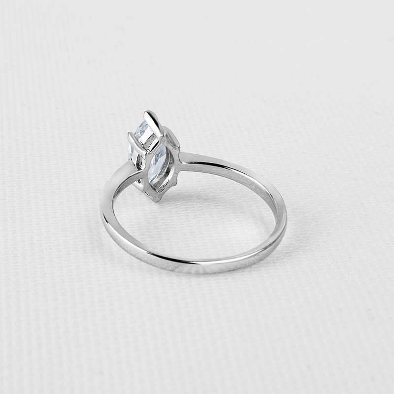QYI Halo แหวน 1 ct Marquise Cut 925 เงินสเตอร์ลิงเครื่องประดับหมั้นผู้หญิงเครื่องประดับ Zircon งานแต่งงานแหวนของขวัญ