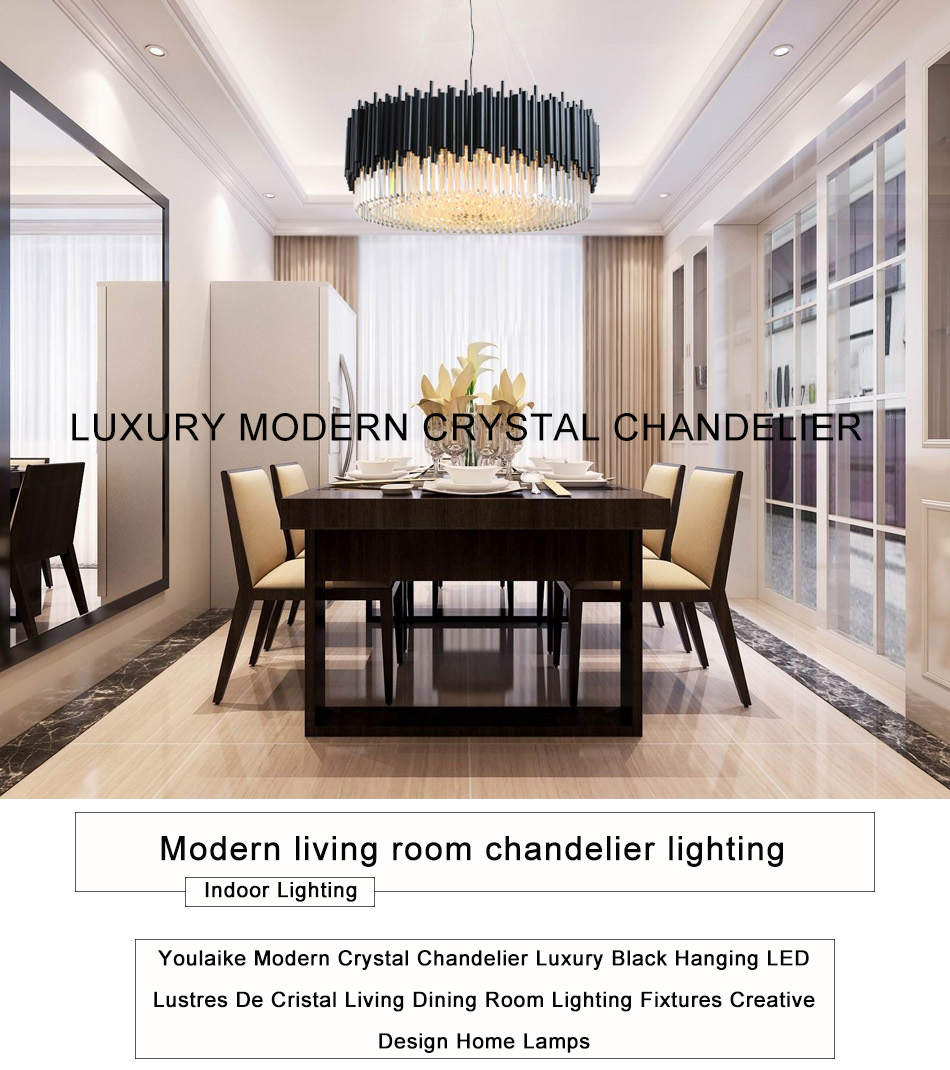 Black Round Chandelier Lighting Luxury Modern LED Crystal Lamp Living Room  Stainless