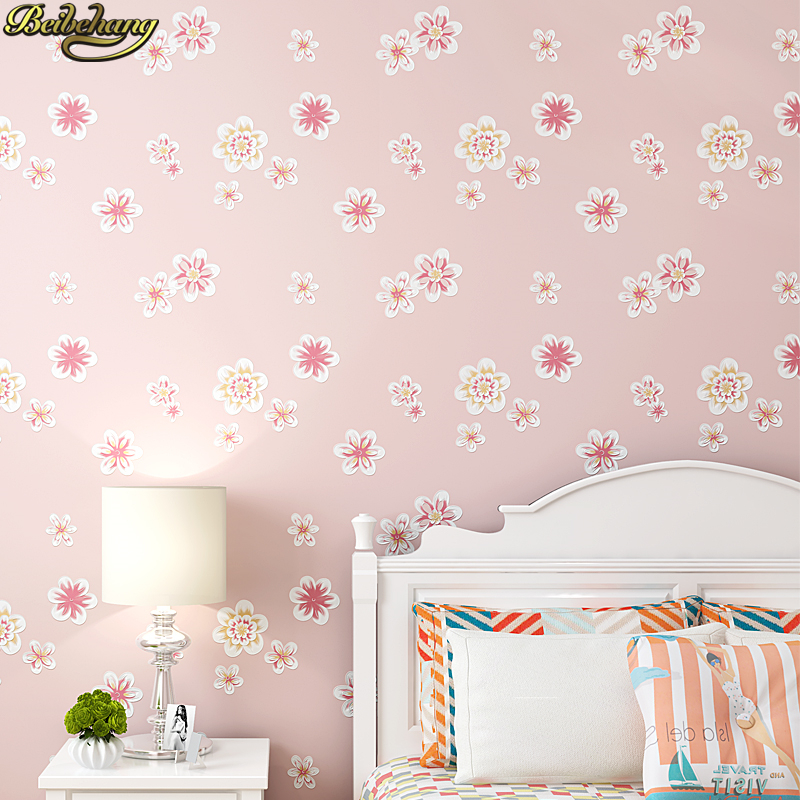 beibehang Girl pink garden flowers 3D wallpaper non-woven wall paper children's room princess bedroom bedroom romantic and warm масляный радиатор ballu classic boh cl 05wrn 1000вт белый [boh cl 05wrn 1000]