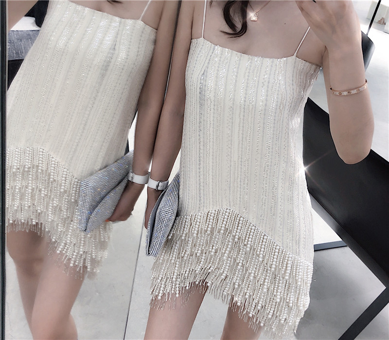 Cakucool New High end Pearl Beading Tassels Dress Summer Festival Party Spaghetti Strap Dress Mini Asymmetric Bodycon Vestido