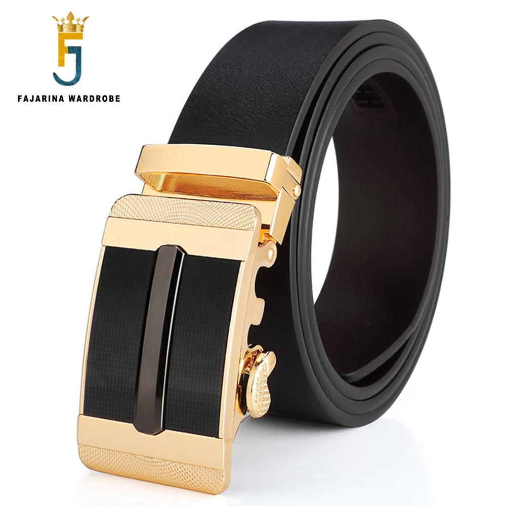 FAJARINA New Arrival Fashion Casual Solid Cowhide Leather Belt Male Gold Automatic for Men Young Styles Dress Need ZDFJ077