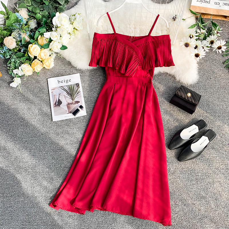 Neploe Sweet Spaghetti Strap Women Dress 2019 Solid Slash Neck Short Sleeve Vestido England Style Chiffon A-Line Robe 43088 9