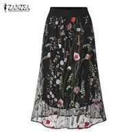 ZANZEA Women Fashion Vintage Long Skirts Elegant Black Floral Embroidered Mesh Overlay A Line Ladies Summer