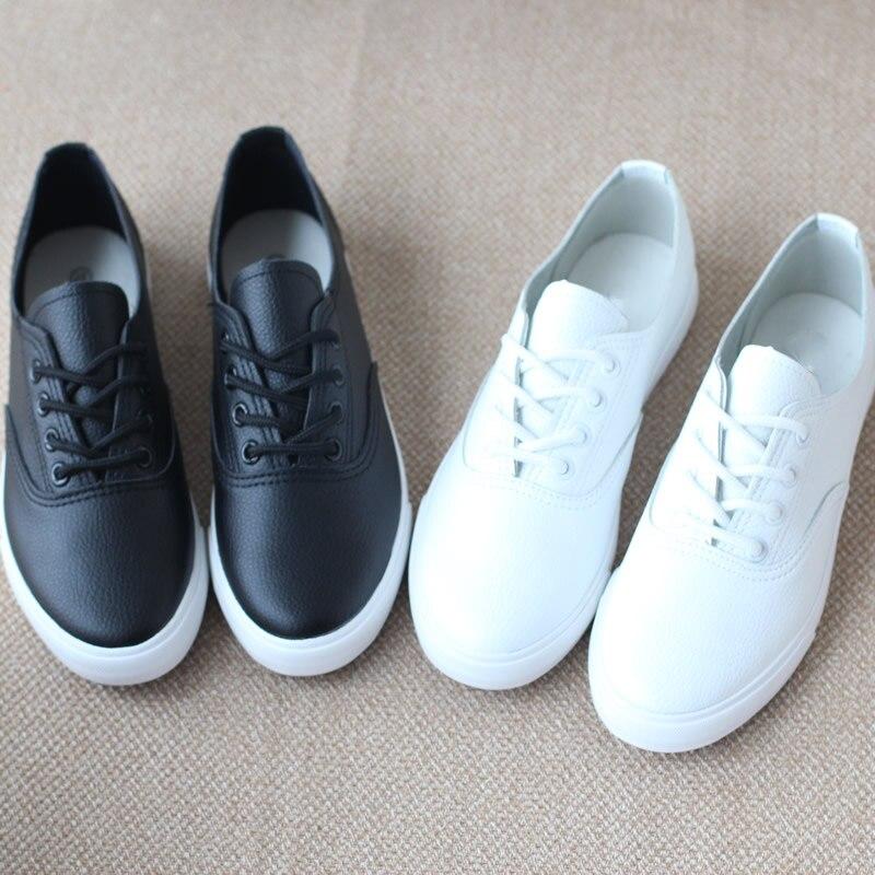 Women Genuine Leather Flat Canvas Tennis Shoes  2