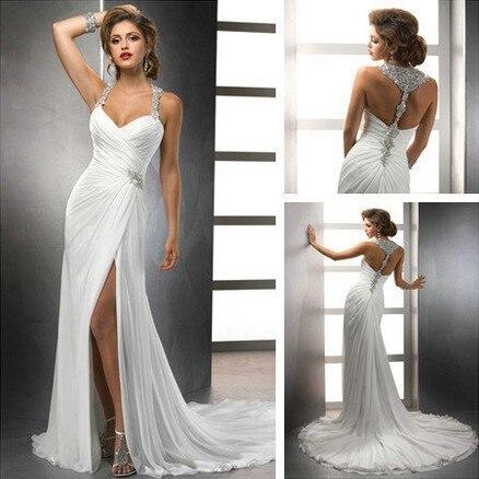 free shipping vestido de noiva halter chiffon destination sexy backless bridal gown Off The Shoulder 2018   bridesmaid     dresses
