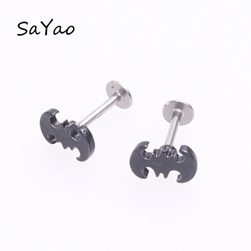 SaYao 1 piece 16G Lip Ring Labret Earring Nail Ear Bone Barbell Black Bat Helix Ear Stud Tragus Ear Piercing Body Jewelry