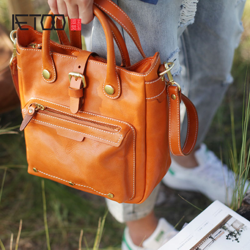 AETOO Autumn art vertical tote bag portable briefcase retro soft leather large capacity female bag leather Messenger bag-in Top-Handle Bags from Luggage & Bags    1