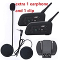 2pcs V6 Motorcycle Helmet Bluetooth Intercom Headset Moto 6 Riders BT Interphone+Extra 1 Earphone and Clip