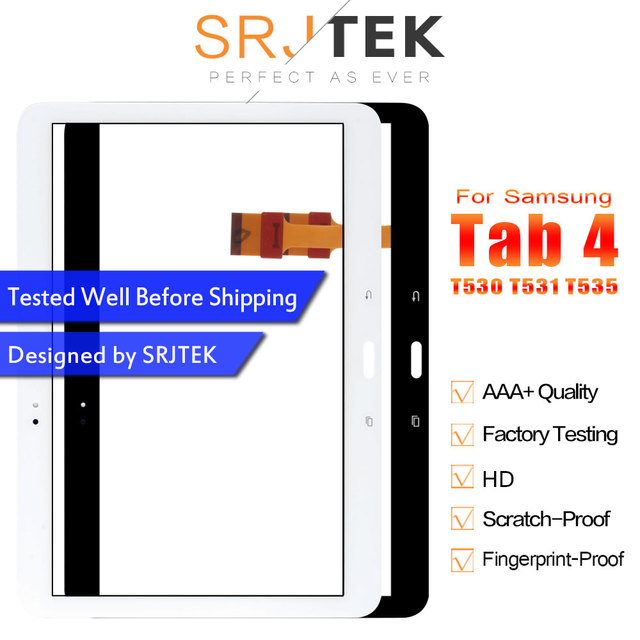 """SRJTEK 10.1 """"لسامسونج غالاكسي تبويب 4 T530 T531 T535 SM-T530 محول الأرقام بشاشة تعمل بلمس الزجاج لوح مستشعر اللوحي استبدال"""