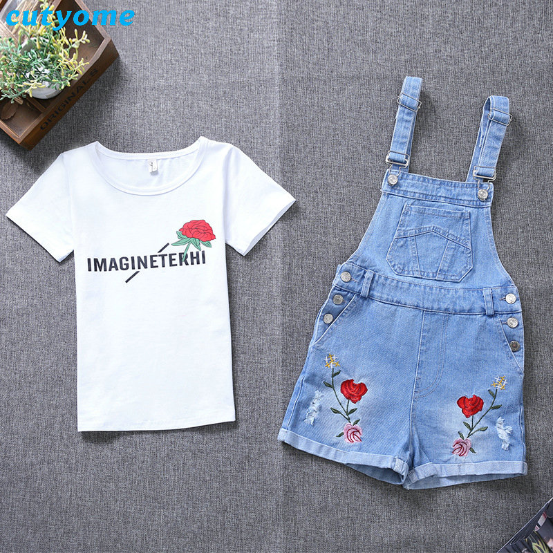 Cutyome Girls Clothing Set 2PC Floral Overalls+T Shirt Baby Girls Autumn Denim Jumpsuits Strap Short Pants Kids Jeans Clothes 2017 summer new children baby girl clothing denim set outfits short sleeve t shirt overalls skirt 2pcs set clothes baby girls