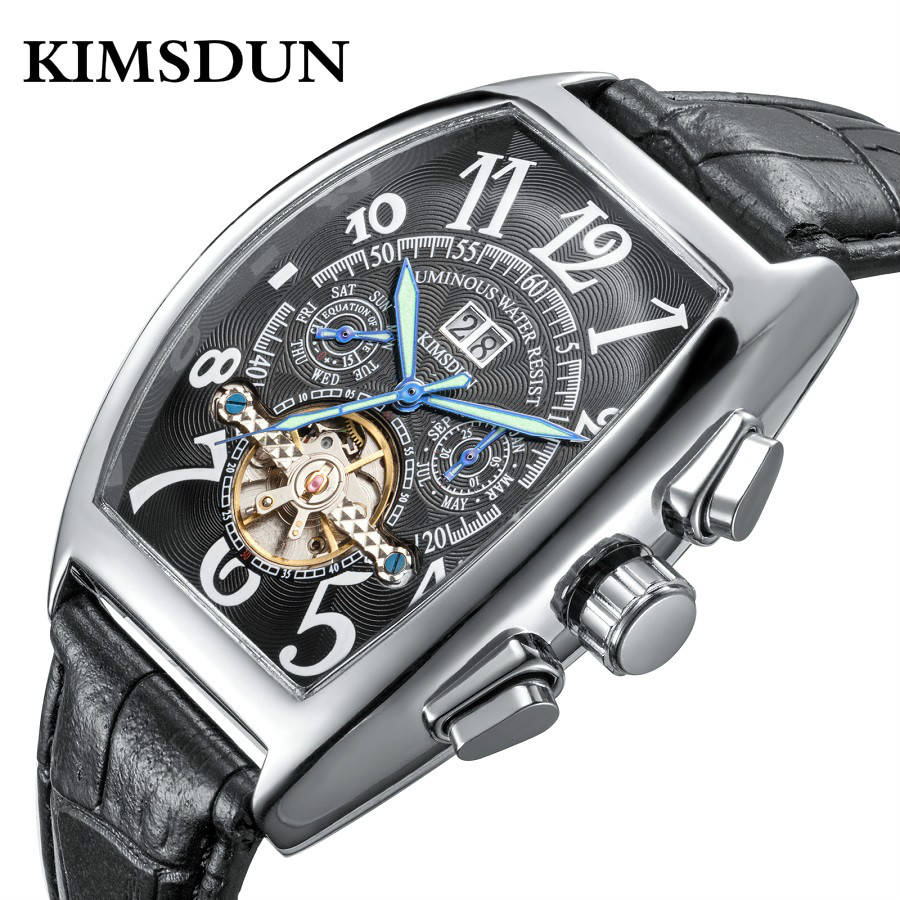 KIMSDUN Mens Self-Wind Tourbillon Mechanical Watches Water Automatic Skeleton Watch Men Relojes Hombre 2019 Man Clock RelojKIMSDUN Mens Self-Wind Tourbillon Mechanical Watches Water Automatic Skeleton Watch Men Relojes Hombre 2019 Man Clock Reloj