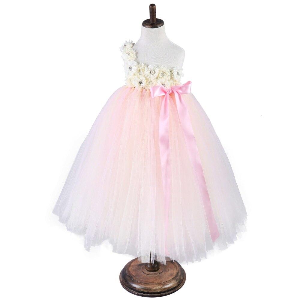 Filles vêtements bouffi rose Robe robes pour enfants filles fleur une épaule célébrité inspiré robes Tutu Robe cérémononie Fille