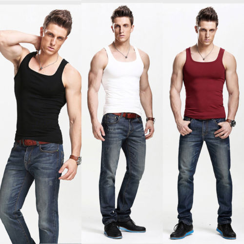 48d9bda6f8e4e 2018 New Style Summer Casual Mens Plain T-Shirts Tank Tops Muscle Tees Cami  Sleeveless 4Colors Cotton Shirt Plus Size M-2XL