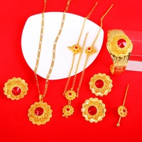 Red Stone Ethiopian Jewelry Sets With Hair Pcs 24k Gold Jewelry Sets For Ethiopian Women Hair