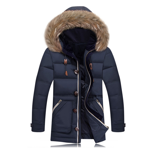 db4bb6e0e US $117.89 |New Winter Jacket Mens Goose Down Coat Faux Fur Hat Parka  Jaqueta de Couro Fashion Down Jacket Hooded Outwear Thick Warm XXL-in Down  ...