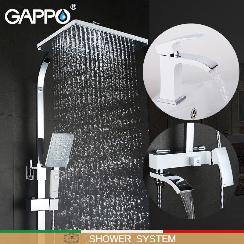 GAPPO branco bacia de banho torneira da banheira banheira torneiras Banheira Torneiras torneira bacia torneiras misturadoras de água robinet baignoire sistema de chuveiro