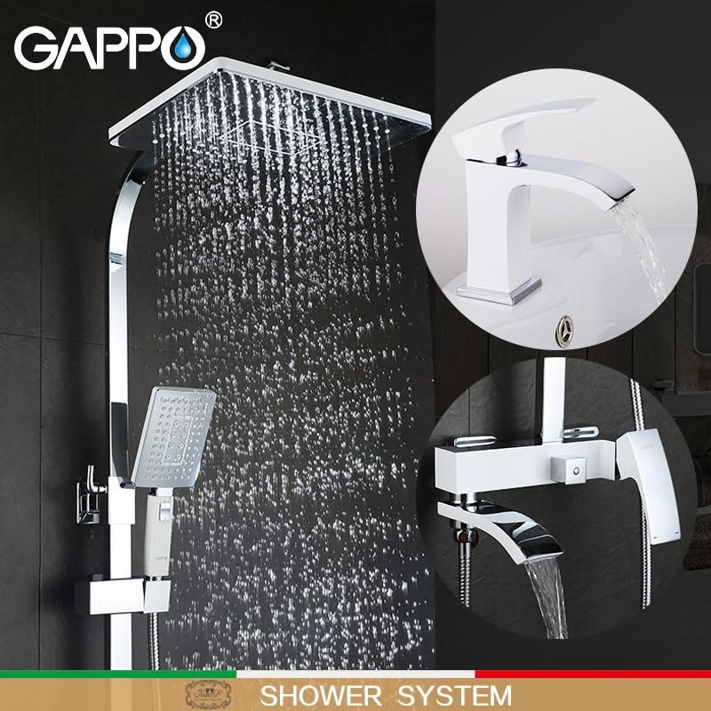 GAPPO bianco Vasca Da Bagno Rubinetti vasca da bagno rubinetto della vasca da bagno rubinetti rubinetto del bacino miscelatore del bacino rubinetti acqua robinet baignoire sistema doccia