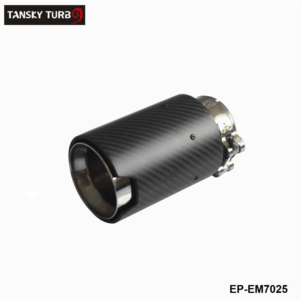 TANSKY-  1Pcs Universal ID 2.5'' 63mm OD:92mm Carbon Fiber Exhaust Tip/Muffler for End Pipes Car Exhaust Tips  EP-EM7025