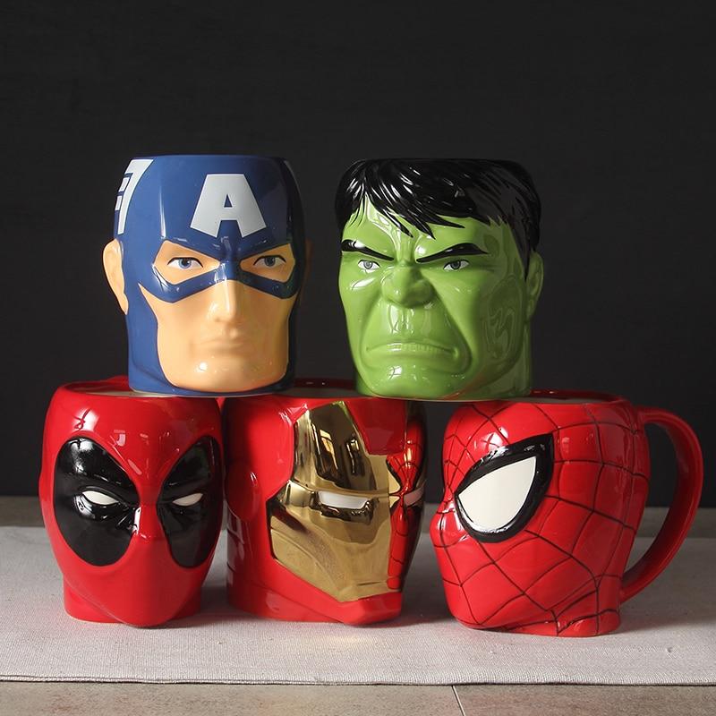 Creative 3D Cartoon Super Hero Iron man SpiderMan TreeMan Cup Milk Coffee Ceramic Mugs Fashion The Avenger-Gift Baby flowerpot