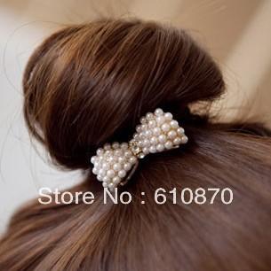 Free shipping 3PCS Fashion Cute Pearl Small Bowknot Hairband Hair Clip Women Girl Hair Jewelry
