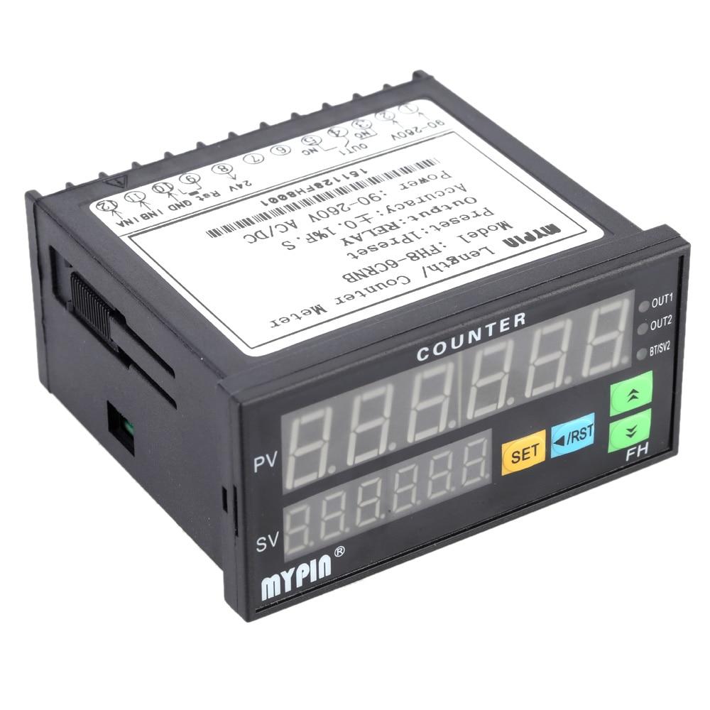 Compteur numérique 6 chiffres 90-260 V AC/DC compteur de longueur électronique 1 sortie de relais préréglée compteur de doigt de personnes similaires