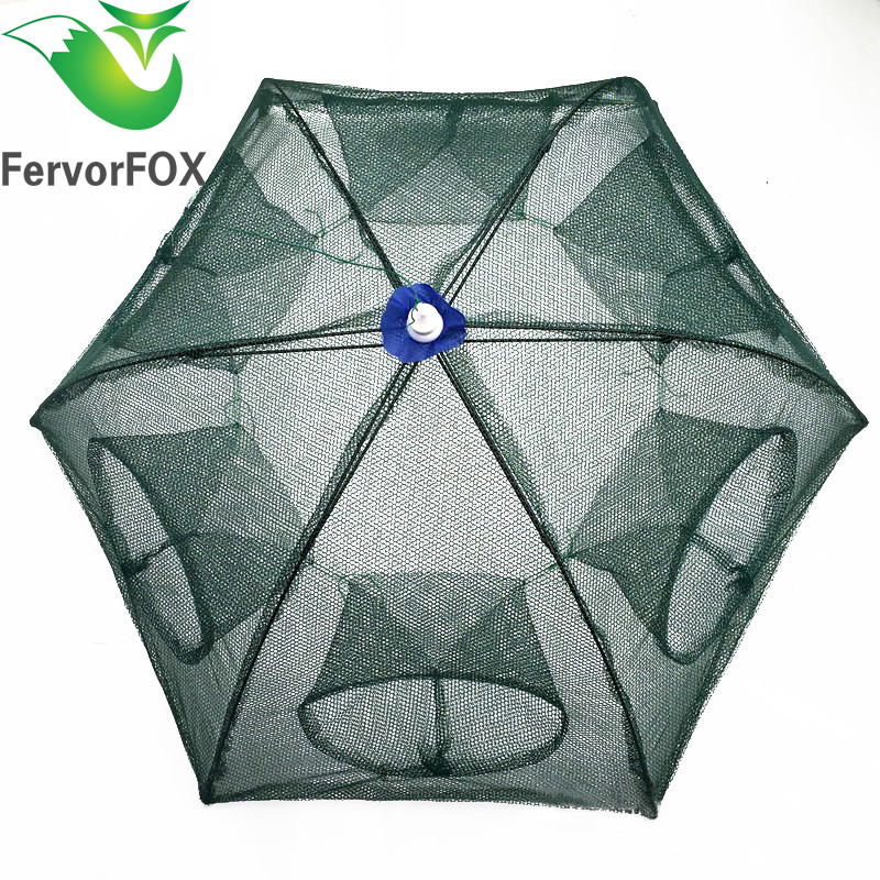 Folded Portable Hexagon 6 Hole Automatisk Fiske Reker Fiske Fisk Netto Fisk Reker Minnow Crab Baits Cast Mesh Trap