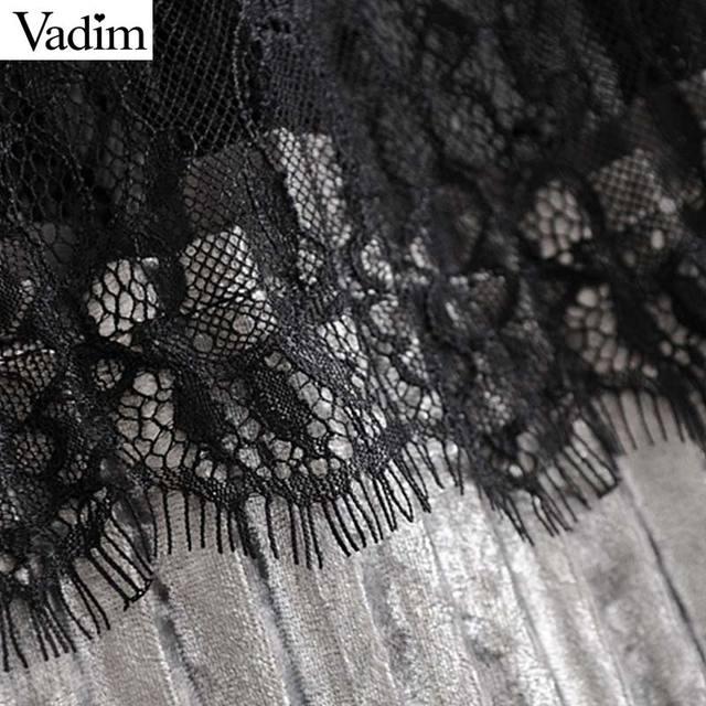 Velvet Lace Elastic Waist Skirts