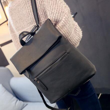 Simple Style Backpack Women PU leather Shoulder Bag for Teenage Girls Fashion Vintage Folding Backpack Designer