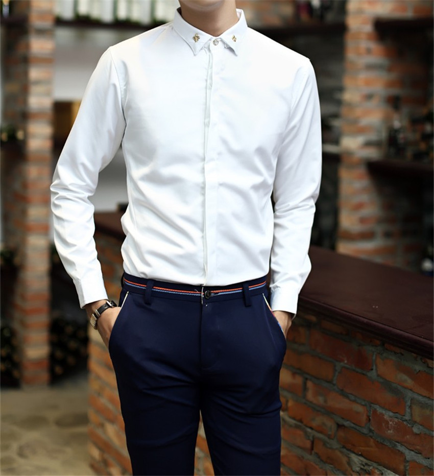 2015 New Arrival High Quality Social Slim Fit British Style Male Casual Formal Wear Shirt Men ...