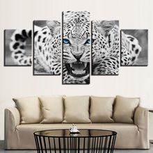 Artryst Modern Painting On Canvas Wall Art Pictures HD Printed Home 5 Panel Blue Eyes Leopard Decor Posters Framework LivingRoom