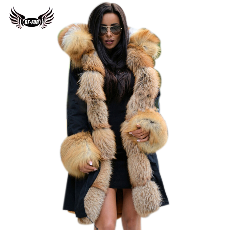 BFFUR Park With Natural Fur Coat Female Luxury Womens Russian Winter Coats 2018 New Long Coat Women Whole Skin Parka Real Fur